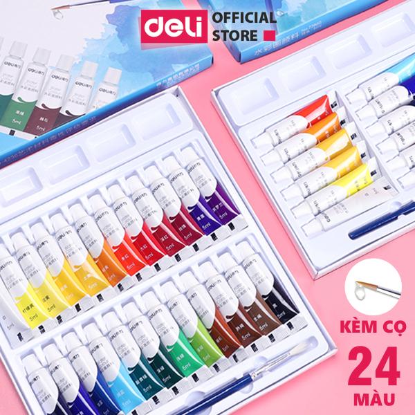 Màu nước dạng tuýp 5ml Deli - 12 màu/18 màu/24 màu - 73859 / 73860 / 73861
