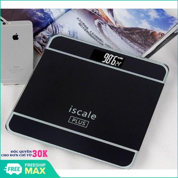 [TẶNG THƯỚC DÂY 1,5M] - Cân sức khỏe điện tử kiểu dáng iphone ISCALE tải trọng 180kg, Cân điện tử mặt kính cường lực MJ-25 180kg loại dày cao cấp