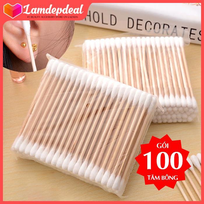 Lamdepdeal - Gói 100 tăm bông đa dụng thân gỗ