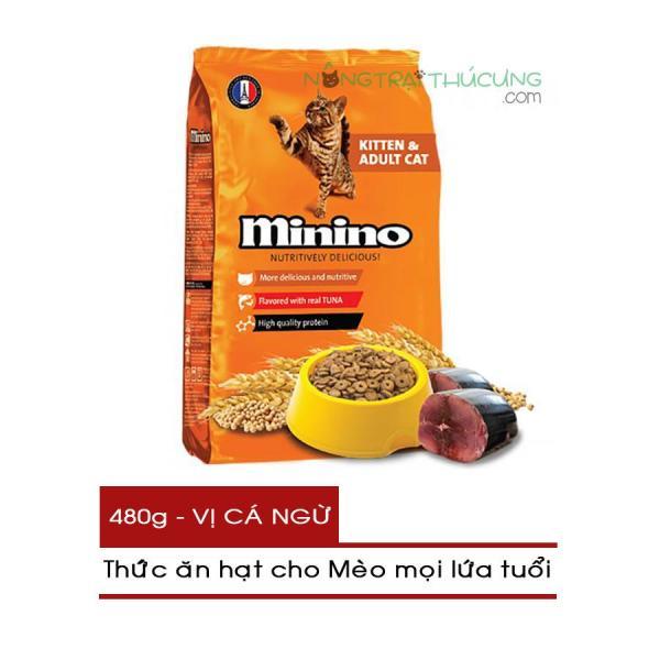 Thức ăn hạt cho Mèo mọi lứa tuổi Minino gói 480g - Vị Cá Ngừ - [Nông Trại Thú Cưng]