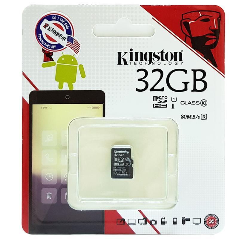 Thẻ Nhớ Micro SDHC KINGSTON 32Gb Class 10 Bảo Hành 5 Năm ( Có Adapter )