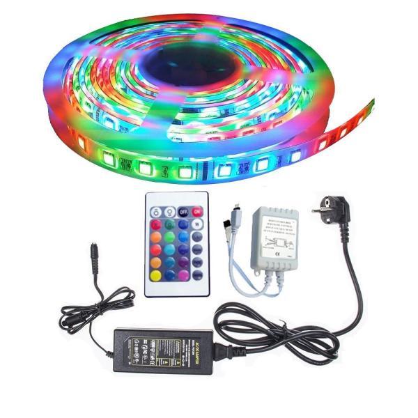 Cuộn đèn Led dây dán 12V 5m đổi nhiều màu (RGB) + Nguồn + Remote điều khiển