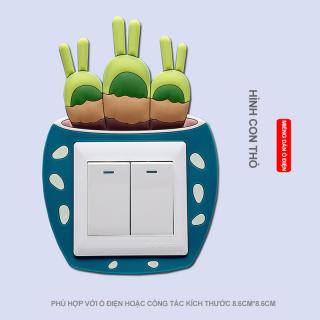 Miếng dán trang trí công tắc điện phát quang bảo vệ công tắc họa tiết 3D đơn giản phù hợp với mọi nhà thumbnail
