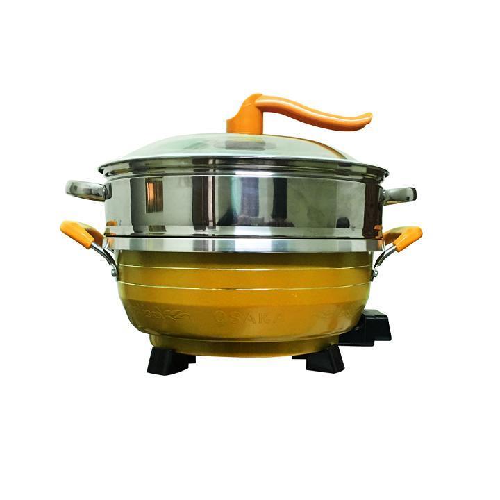 Chảo lẩu điện đa năng Osaka L299 6L đa chức năng- Nấu, hấp, làm bánh cực tiện (Vàng)