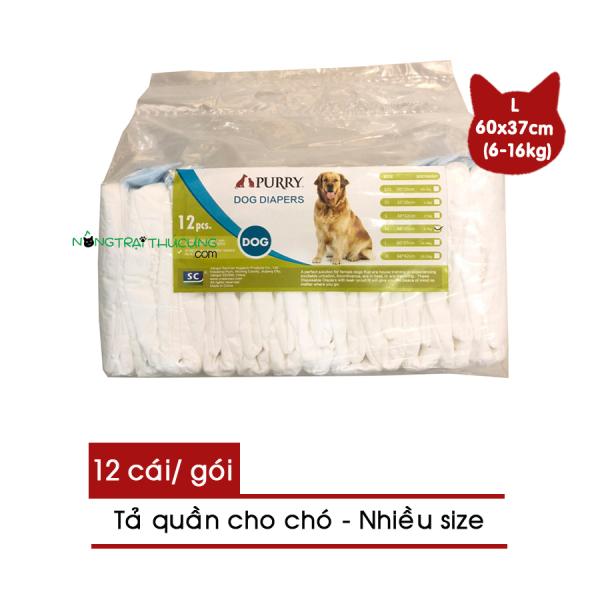 Tả quần - Bỉm quần cho chó PURRY size L (6-16kg) 12 miếng - Băng vệ sinh cho chó - [Nông Trại Thú Cưng]