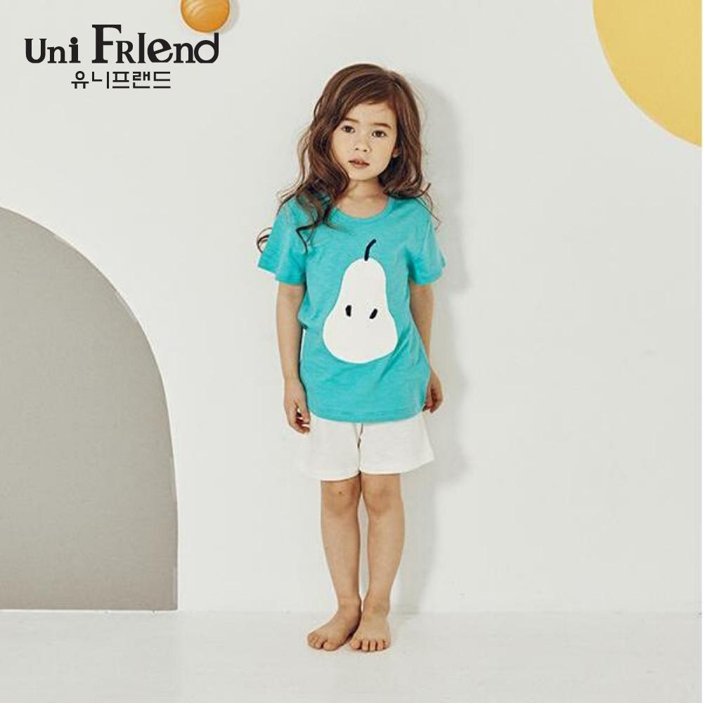 Giá bán Đồ bộ mặc nhà bé gái Unifriend thun ngắn họa tiết quả lê U9SSTS03
