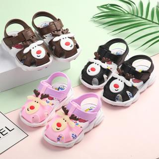 Dép tập đi cho bé 1-2-3 tuổi, dép quai hậu bé gái, sandal tập đi cho bé trai và bé gái hình tuần lộc+snoopy dễ thương