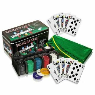 Bộ Phỉnh 200 Chip Poker Texas Holdem Hold em Blackjack Full Hộp thumbnail
