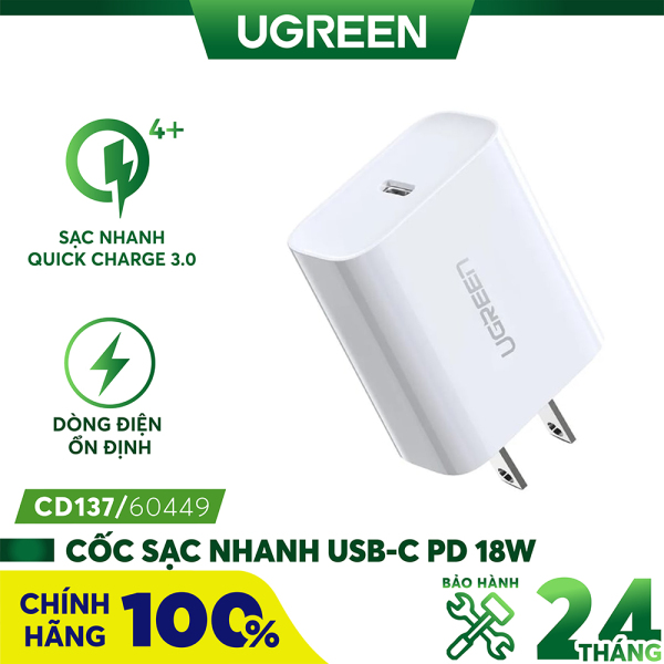 [BH 24 tháng 1 đổi 1] Sạc USB-C PD 18W UGREEN CD137 60449 - Hỗ trợ sạc nhanh PD 18W 50% pin trong 30 phút cho iPhone 11 Pro Max/ iPhone 11 Pro / iPhone Xs Max / iPhone 8 Plus, sạc nhanh Quick Charge 4.0, 3.0 cho Samsung / Android