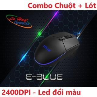 Chuột EBlue EMS146 PRO LED - USB - Legeno 2400 DPI, Chuột phát sáng, có led, chuột có dây văn phòng - Chuột chuyên game thumbnail
