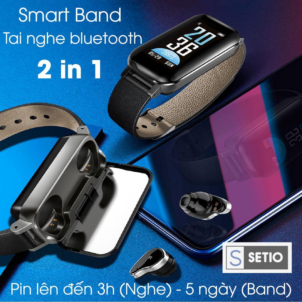 Coupon Khuyến Mại Vòng đeo Tay Thông Minh 2 Trong 1 Kết Hợp Tai Nghe Bluetooth SETIO T89, Có Thể đo Huyết áp, Nhịp Tim, Các Thông Số Tập Thể Dục, Âm Thanh Sống động Rõ Nét, Bluetooth 5.0, Bảo Hành 12 Tháng.