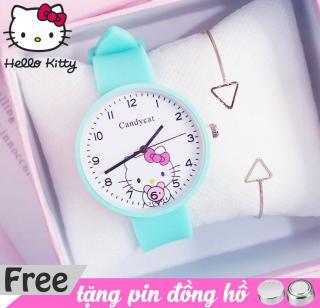 đồng hồ dây cao su nữ Candycat hình hellokitty dễ thương, dây cao su mềm chạy bằng pin ( tặng kèm 1 cục pin sự phòng ) 3 màu lựa trọn thumbnail