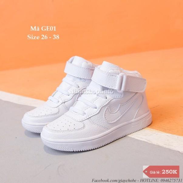 Giày cổ cao cho bé trai và bé gái 3 - 12 tuổi GE01 trắng giá rẻ