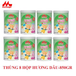 Thùng 8 hộp Sữa Morinaga Số 3 Kodomil 850gr Dâu - Date T12.2021 ( tách đai Clearance ) thumbnail