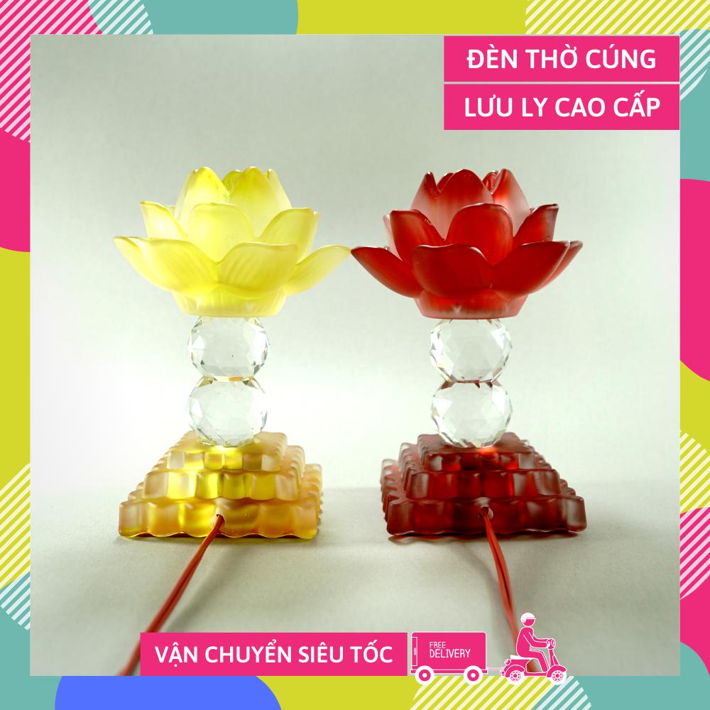 Đèn thờ điện lưu ly chân pha lê hoa sen nguyên khối đèn thờ Phật led trụ vuông tầng - Cao 15cm