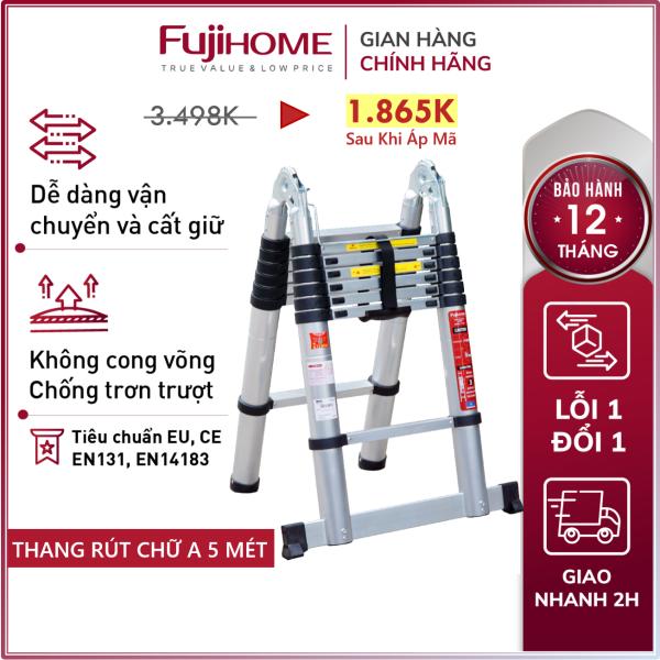 Thang nhôm rút chữ A Nhập Khẩu 4,4M - 5M gấp gọn chính hãng FUJIHOME, thang rút đôi xếp gọn gia đình đa năng Nhật Bản