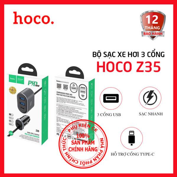 BỘ SẠC NHANH XE HƠI 3 CỔNG USB + 1 CỔNG TYPE-C 3.0A HOCO Z35 - DÀI 1.2M