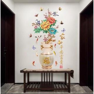 Decal trang trí Bộ 2 tờ Bình Hoa Mẫu đơn- TRanh dán tường trang trí phòng khách phòng ngủ thumbnail
