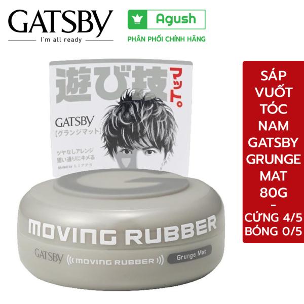 Sáp vuốt tóc nam cao cấp Gatsby Moving Rubber Grunge Mat màu xám 80G không bóng rất cứng giữ nếp lâu không rít tay thơm hương trái cây - Agush shop