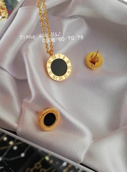 Bộ trang sức dây chuyền + bông tai tròn đen mạ vàng