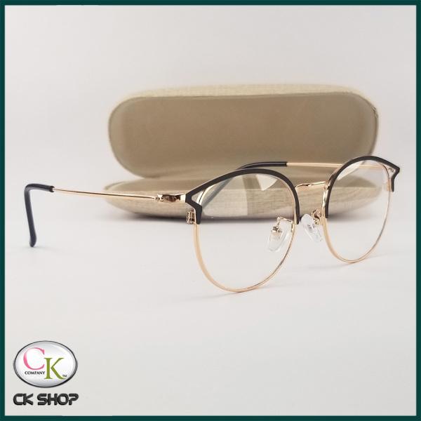 Giá bán Gọng kính cận nữ mắt tròn tai mèo kim loại màu đen, bạc, vàng 5553. Tròng kính giả cận 0 độ chống ánh sáng xanh, chống nắng và tia UV