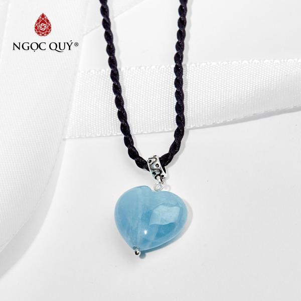 Mặt dây chuyền đá aquamarine trái tim mệnh thủy,mộc (màu xanh biển) - Ngọc Quý Gemstones