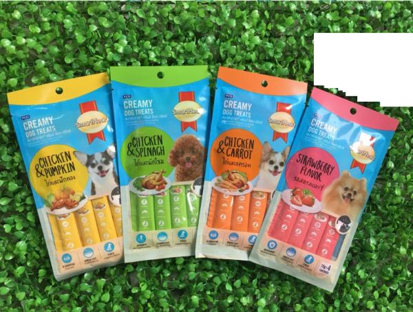 Bánh Thưởng Dạng Kem Cho Chó Gói 4 Thanh Creamy Dog Treats Smartheart 60g