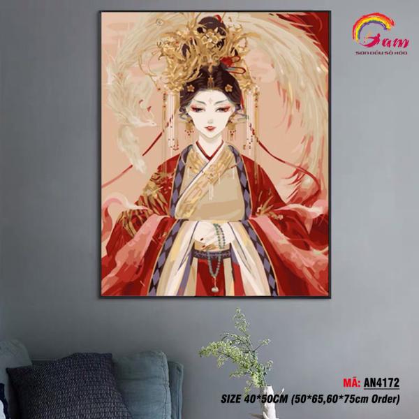 Tranh treo tường tự tô màu theo số sơn dầu số hóa Gam cô gái cổ trang Trung Quốc AN4172