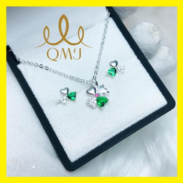 Bộ trang sức Cỏ 4 lá Hạnh Phúc - Bạc 925 cao cấp được thiết kế tinh tế nạm đá siêu sáng[CHUẨN BẠC] QB006