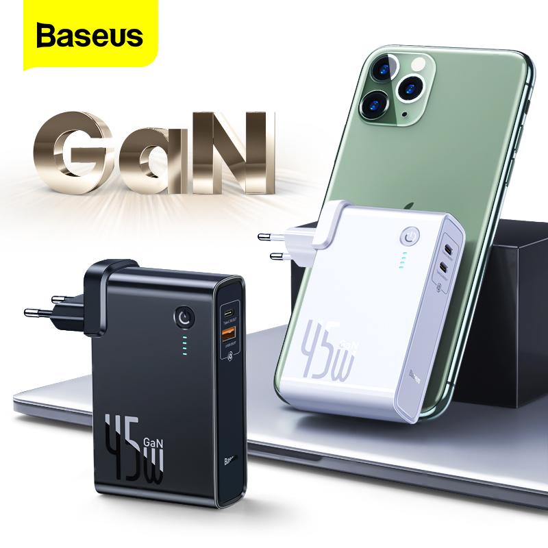 [Tặng cáp 60W] Sạc Dự Phòng Baseus GaN 45w 10000mAh Loại C PD Sạc nhanh Cho iPhone 12 Pro Max 11 Xiaomi