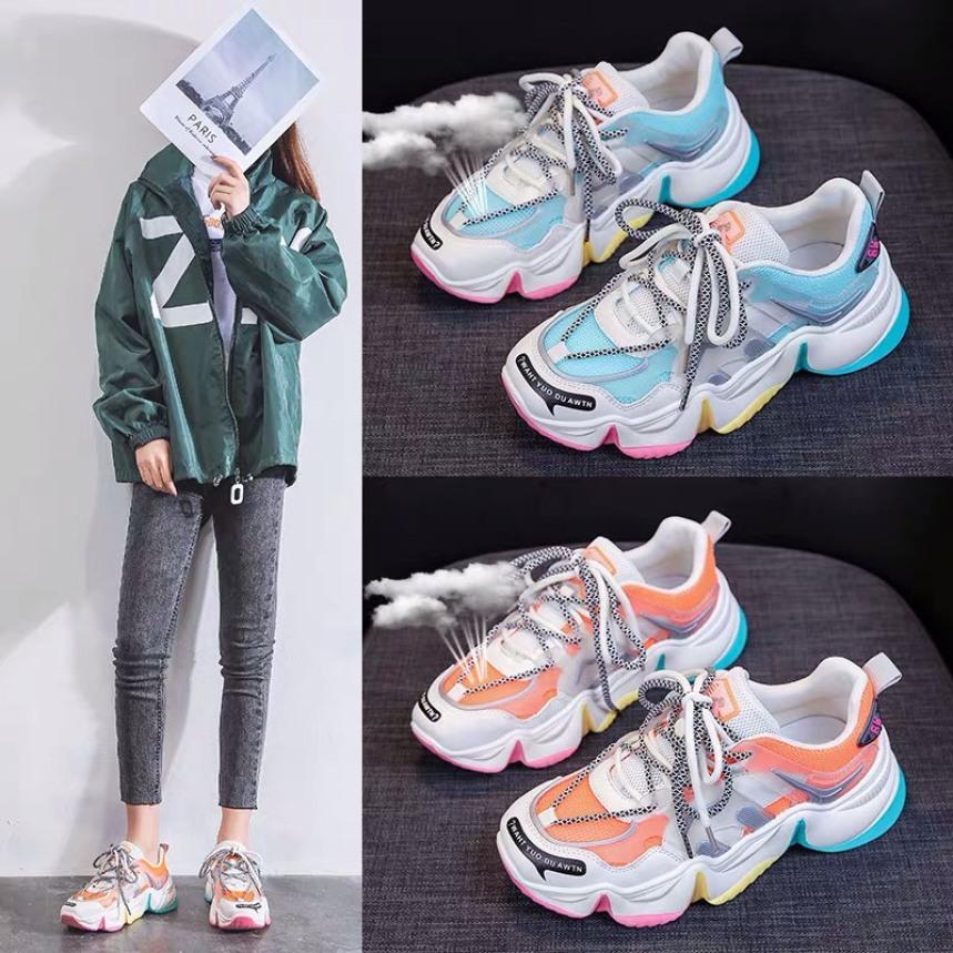[ Hàng Sẵn ] Giày thể thao nữ đế phối 3 màu , giày sneaker nữ hot trend 2020 giá rẻ