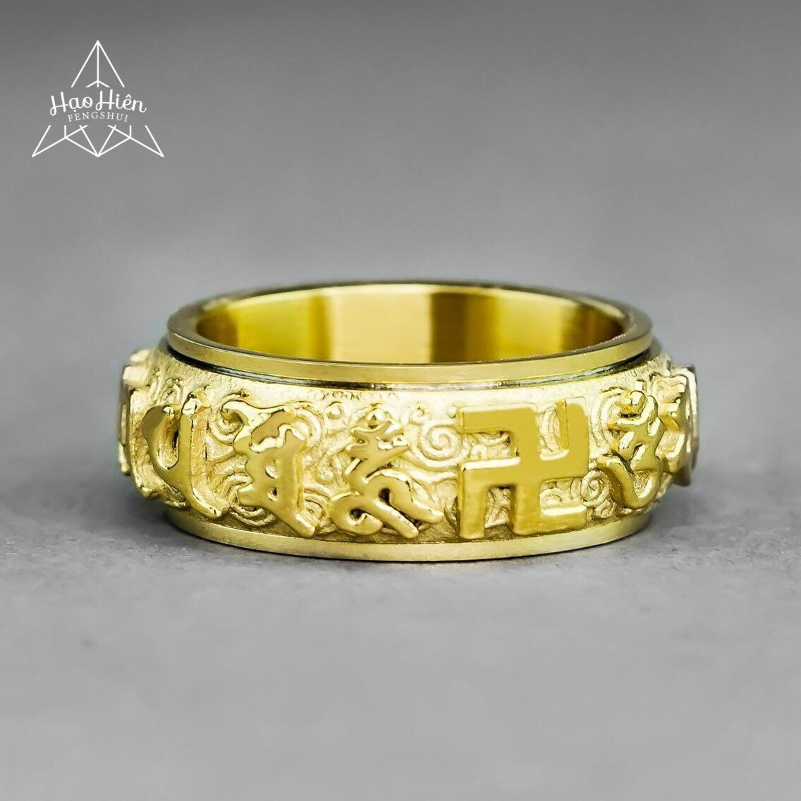 Nhẫn Om Mani Padme Hum mặt chữ Thập khắc nổi - Xoay 360 độ - Mang lại sự Hạnh Phúc, Sung Túc đến cho người đeo