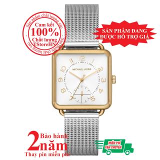 Đồng hồ nữ MK Brenner MK3846, vỏ màu Vàng (Gold), mặt màu Bạc (Silver), dây kim loại màu bạc, size 31mm x 31mm - MK3846 thumbnail