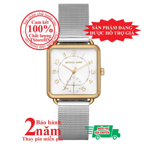 Đồng hồ nữ MK Brenner MK3846, vỏ màu Vàng (Gold), mặt màu Bạc (Silver), dây kim loại màu bạc, size 31mm x 31mm - MK3846