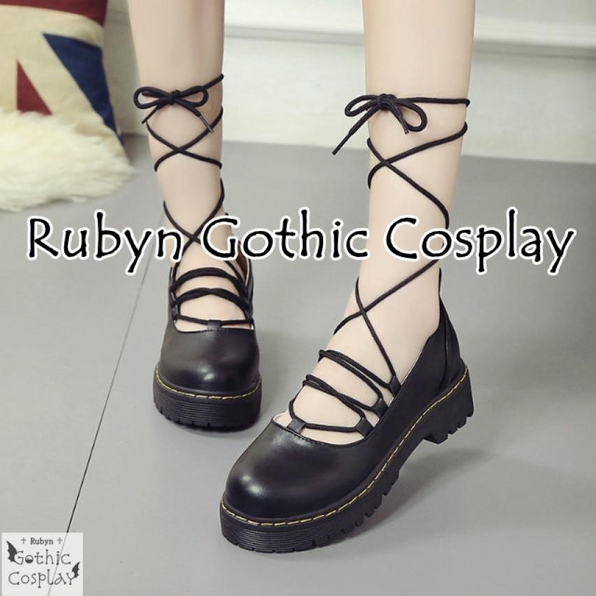 🍁Giày búp bê lolita thắt dây phong cách cosplay màu đen, giày múa bale, giày cột dây, giày oxford, giày phong cách Anh Quốc giá rẻ