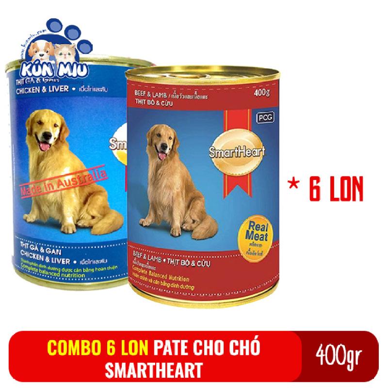 Combo 6 lon Thức ăn Pate cho chó Smartheart lon 400gr giao vị ngẫu nhiên