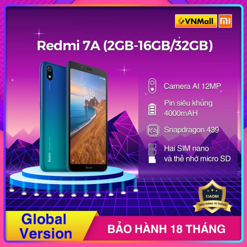 [HÀNG CHÍNH HÃNG] Xiaomi Redmi 7A (2GB - 16GB/ 32GB) Màu Đen / Xanh / Đỏ, Snapdragon 439, Pin Khủng 4000 mAh, BH 18 Tháng-Fullbox.
