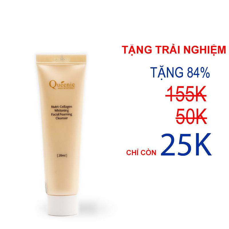 Sữa Rửa Mặt Tạo Bọt, Trắng Da, Bổ Sung Collagen Queenie Trải Nghiệm 20ml - Mỹ Phẩm Hàn Quốc
