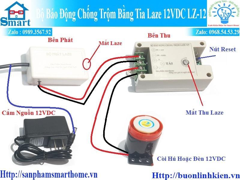 Bộ báo động chống trộm bằng tia LAZE 12VDC