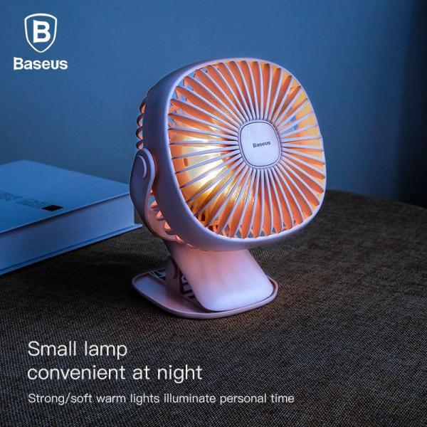 Quạt kẹp mini - Quạt Sạc Tích Điện pin 2000mAh hãng Baseus Cầm Tay Hoặc Để Bàn và có kẹp tiện dụng tích hợp đèn ngủ Đa Năng pin bền ( Hoạt động liên tục 3-8h )