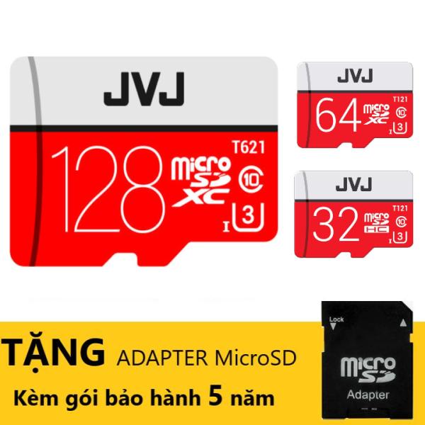 Thẻ nhớ 128Gb/64Gb/32Gb/16GB JVJ Pro U3 Class 10 – kèm ADAPTAR chuyên dụng cho CAMERA tốc độ cao 100MB/s chuyên dụng cho camera wifi, camera hành trình, điện thoại, máy chơi game, chất lượng hình ảnh 4k bảo hành 5 năm
