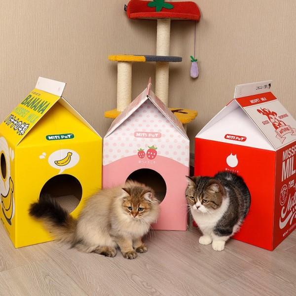 [Tặng Kèm Catnip] Hộp Box Cào Móng Cho Mèo Dáng Hộp Sữa- Bàn Cào Móng Cho Mèo