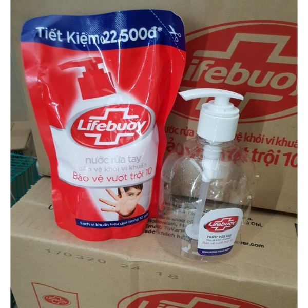 Nước rửa tay Lifebuoy túi 450g bảo vệ vượt trội [Tặng Chai RỖNG đựng] giá rẻ