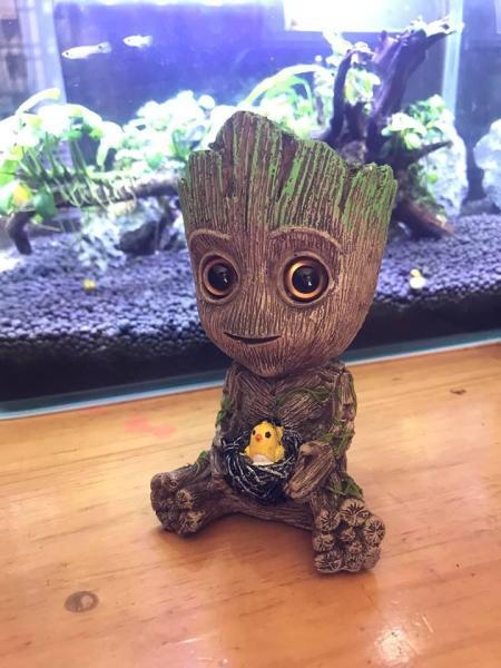 Tượng Groot Baby đá sủi làm tiểu cảnh và sủi O2 cho hồ cá, hồ thủy sinh