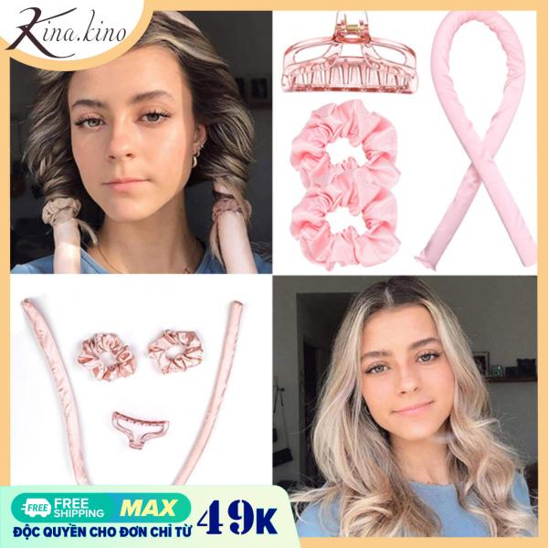 Bộ satin/lụa thanh uốn tóc xoăn không cần nhiệt Flexi rod - Chất liệu mềm, lõi mềm 100% không hư tổn tóc -Kinakino phukienlamdep