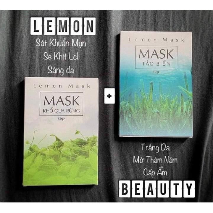 Combo 2 Sản Phẩm Lemon Mask - 1 Mask Khổ Qua Rừng 50 Gram & 1 Mask Tảo Biển 50 Gram (mua 2 gói được tặng cột tóc handmade & que trộn mask) cao cấp