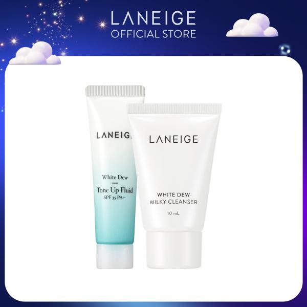 [Hàng tặng không bán] Bộ đôi dưỡng trắng Laneige White Dew ToneUp Fluid 10ml & Laneige White Dew Milky Cleanser 10ML giá rẻ