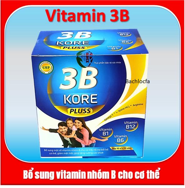 Viên uống bổ sung vitamin 3B Kore Pluss  Giúp bồi bổ sức khỏe, hỗ trợ  bổ thần kinh, giảm đau xương khớp hộp 100v cao cấp