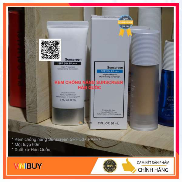 Kem chống nắng Sunscreen SPF50+ PA+++ Hàn Quốc màu trắng chiết xuất từ thảo mộc tự nhiên nên khá lành tính và an toàn cho da, bảo vệ làn da của bạn khỏi các tia UVA và UVB cực mạnh + VNIBUY