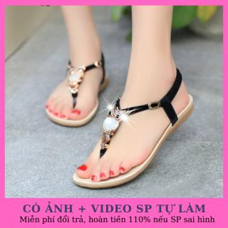 Dép sandal nữ xỏ ngón đế bằng đính ngọc cá tính thumbnail